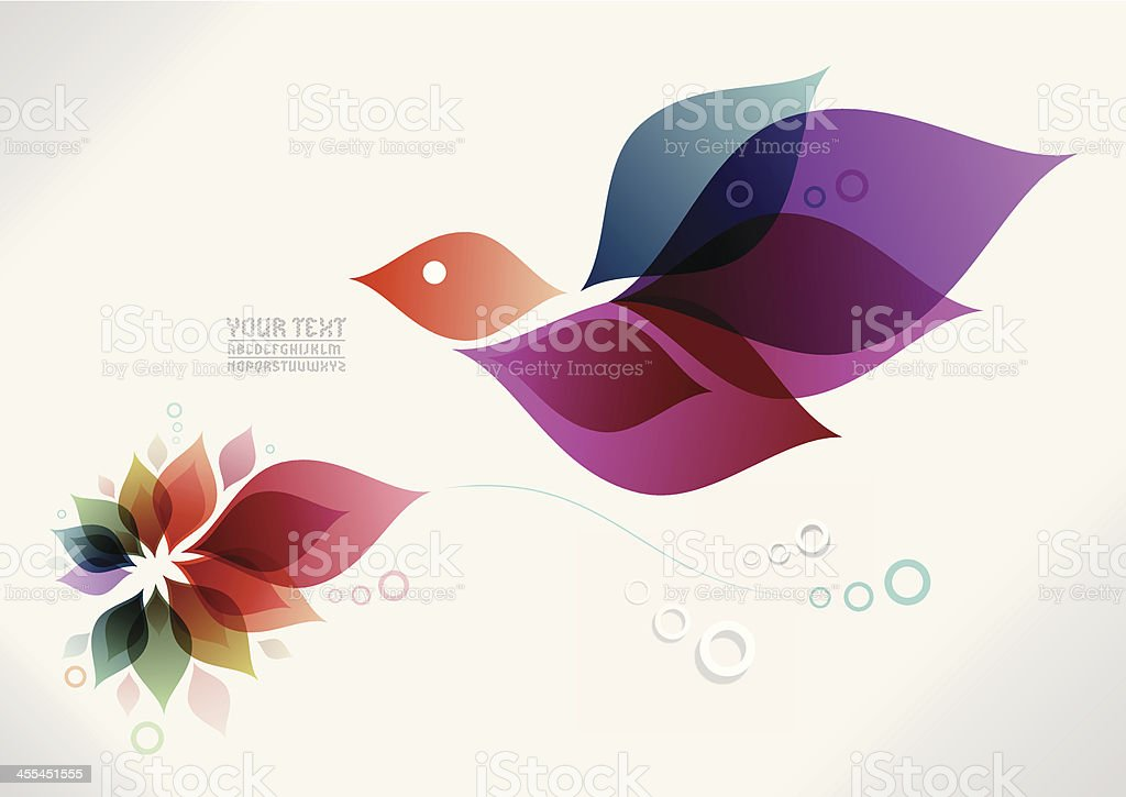 spring bird background vector art illustration