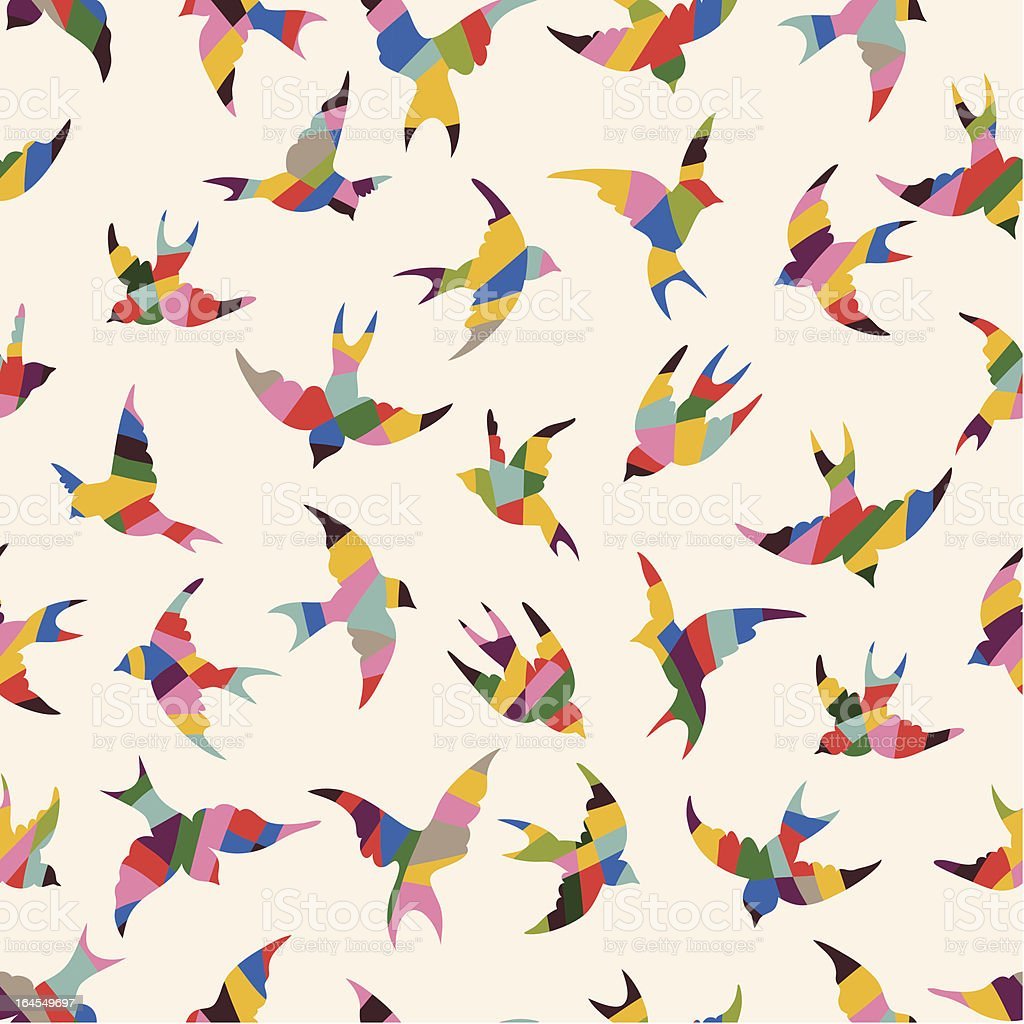 Spring birds seamless pattern royalty-free stock vector art