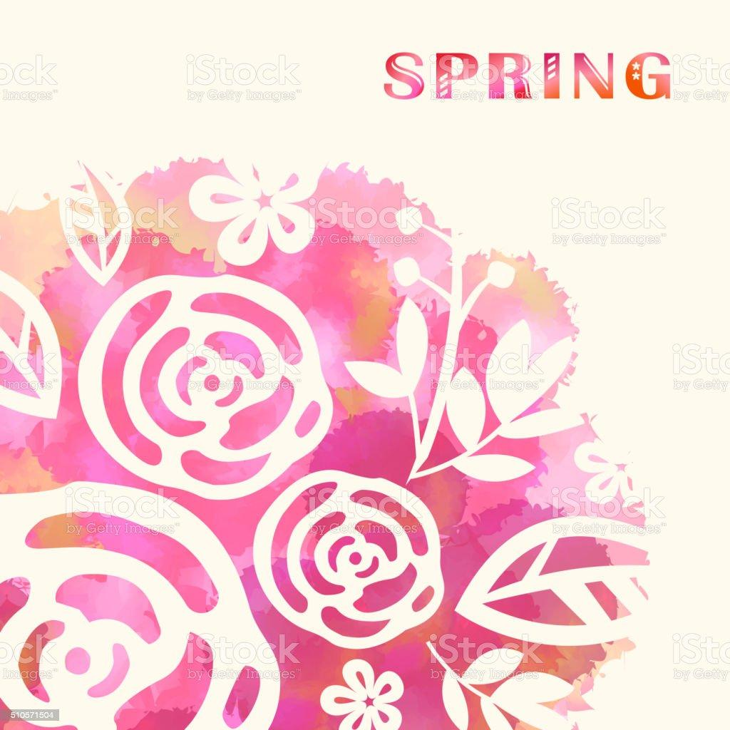 Spring blossom background vector art illustration