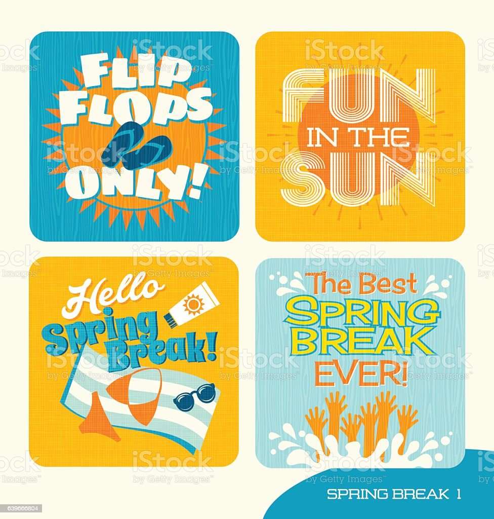 spring break design elements for t-shirts, websites, posters and promotions vector art illustration