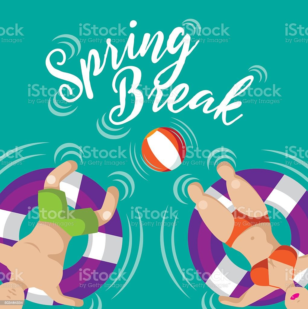 Spring break Floating couple design vector art illustration