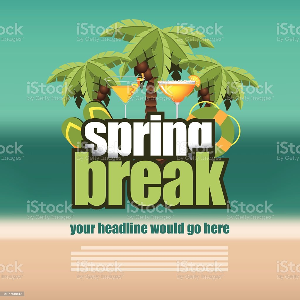 Spring break palm trees on blurry beach background vector art illustration
