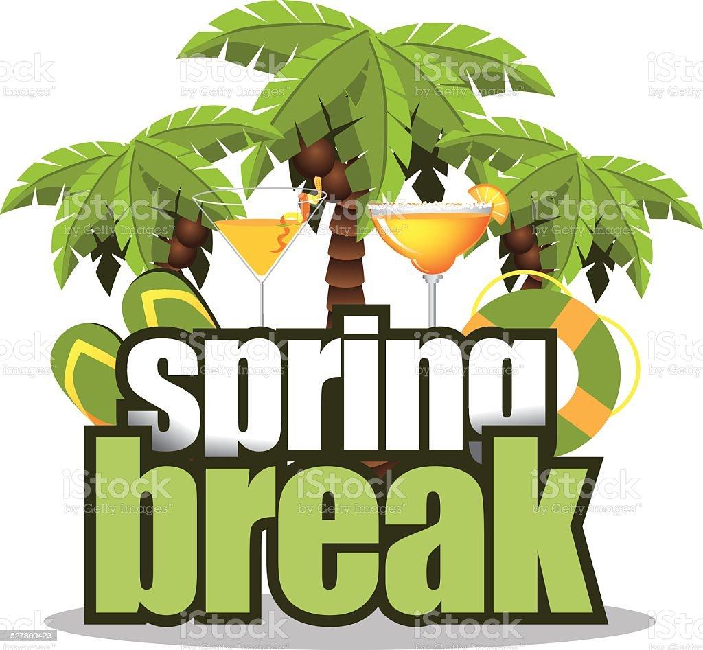 Spring break palm trees on white vector art illustration