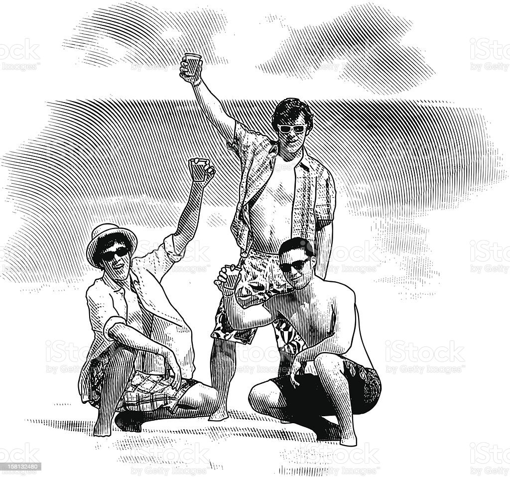 Spring Break Party at the Beach vector art illustration