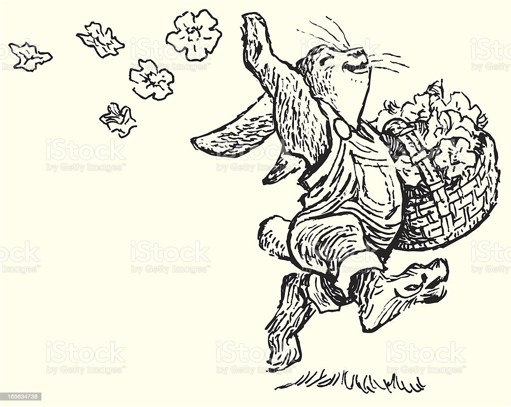 Spring Bunny Rabbit and Flower Basket vector art illustration