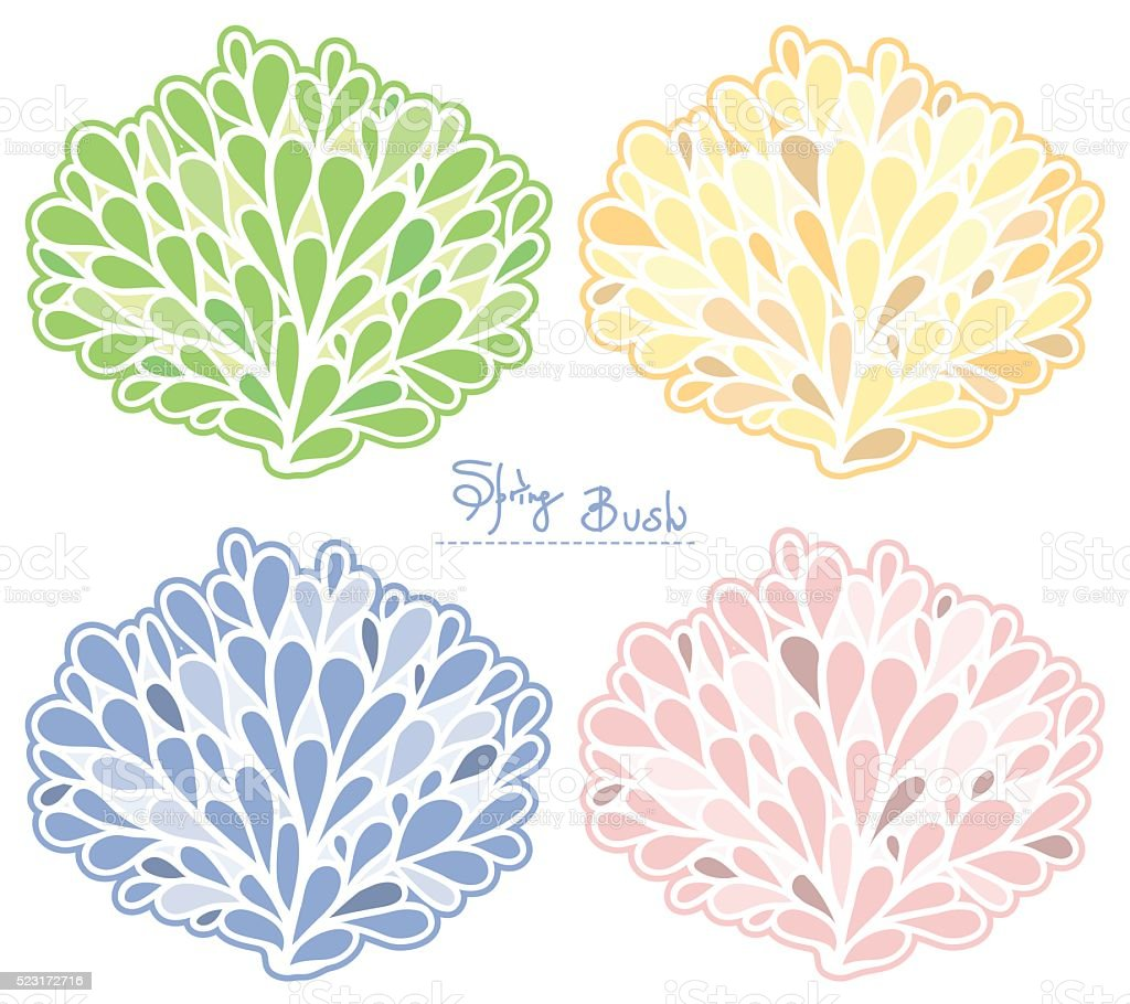 Spring Bush vector collection. Colored silhouette. vector art illustration