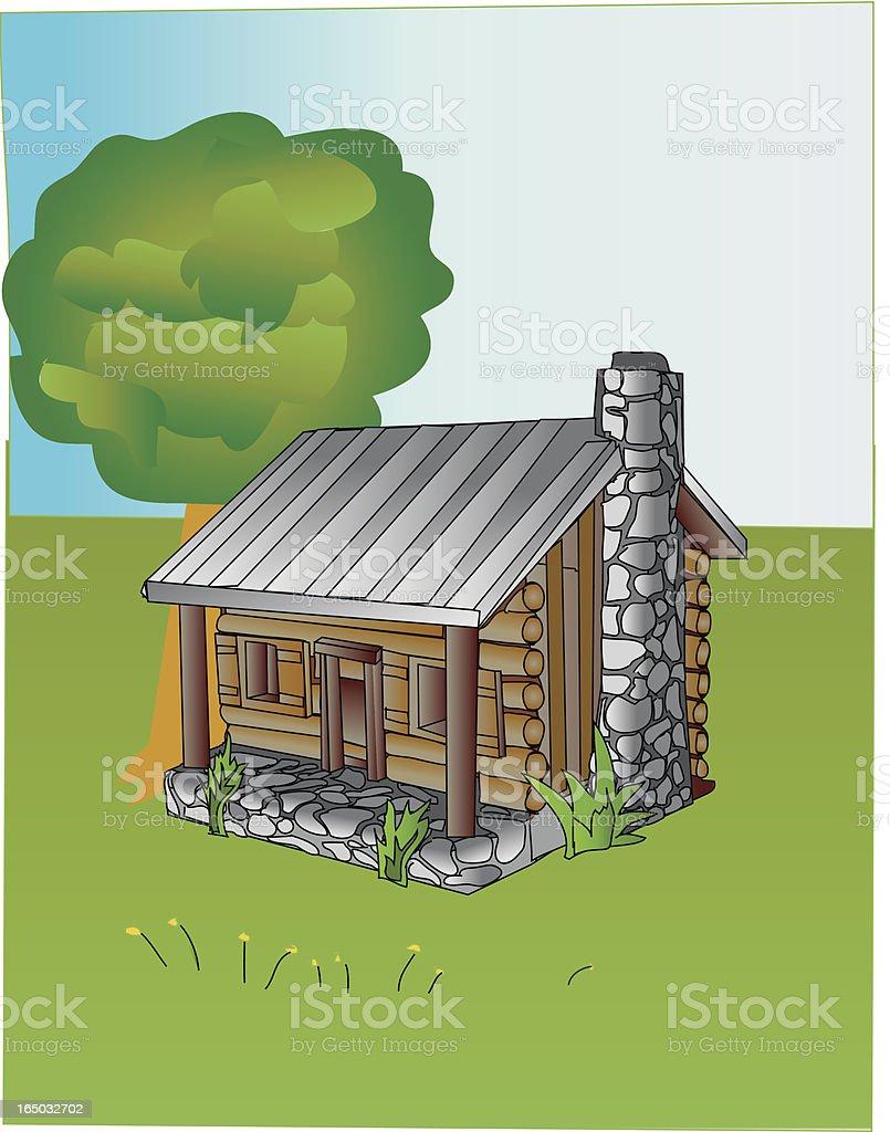 Spring cabin - vector royalty-free stock vector art