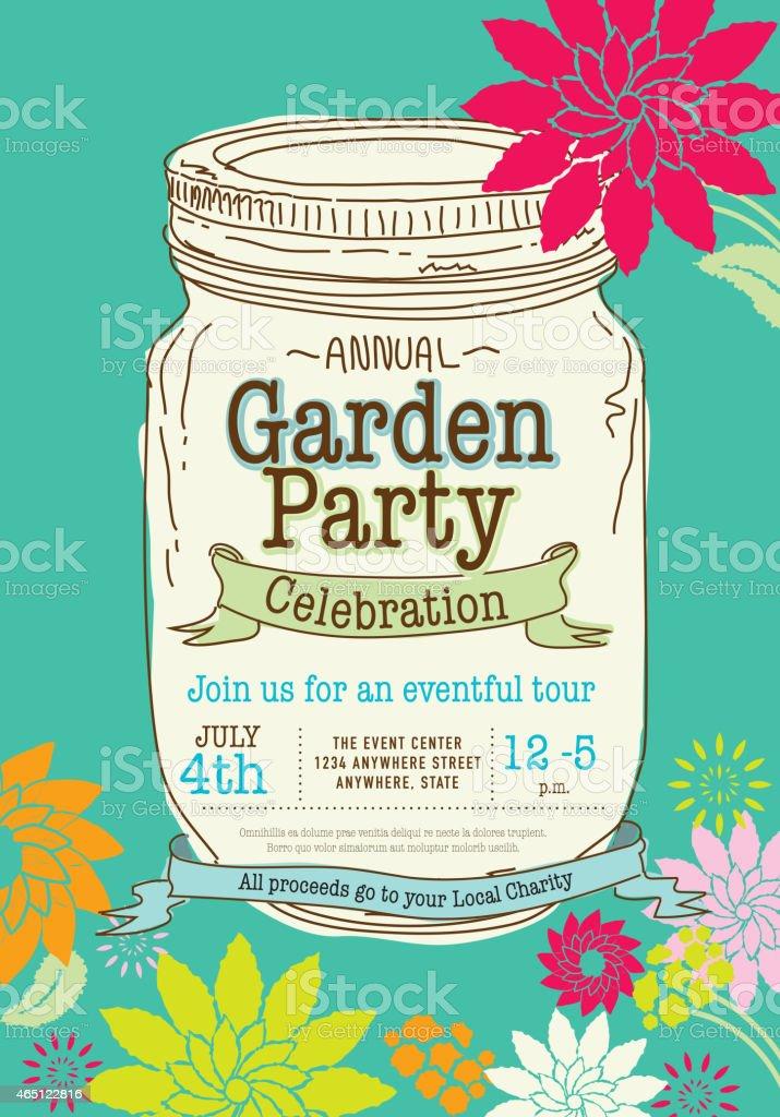 Spring Canning jar Garden Party invitation design template vector art illustration