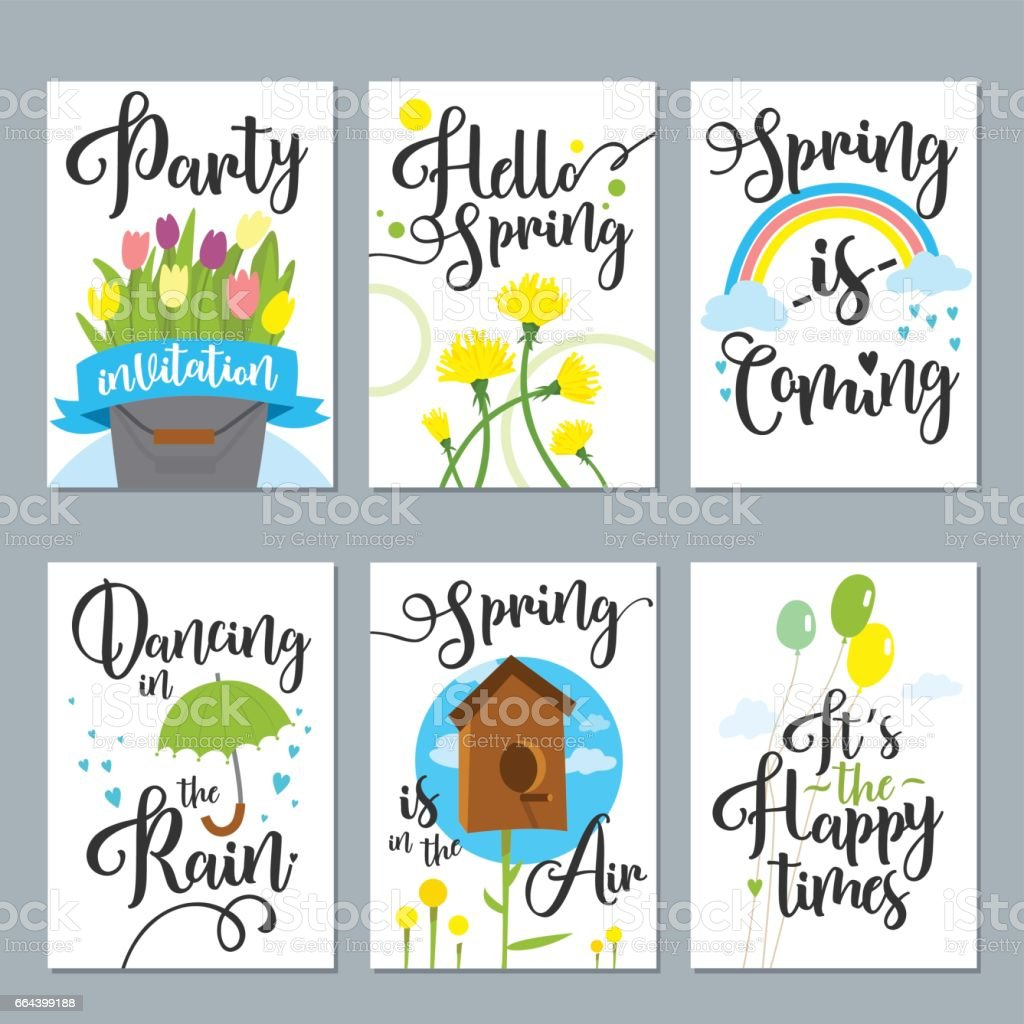 Spring card set with spring quotes, calligraphy, flowers. Perfect for greeting cards, sale badges, scrapbook, poster, cover, tag vector art illustration