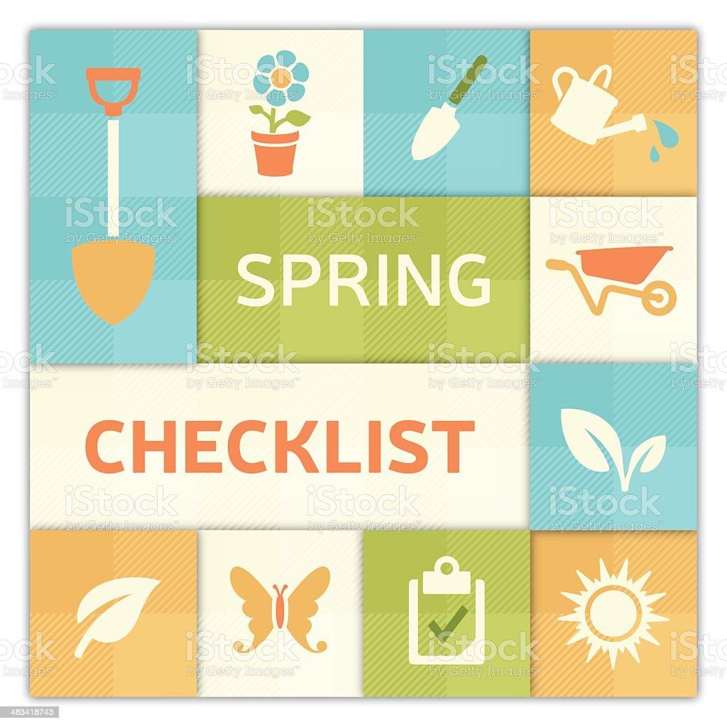 Spring Checklist Background vector art illustration