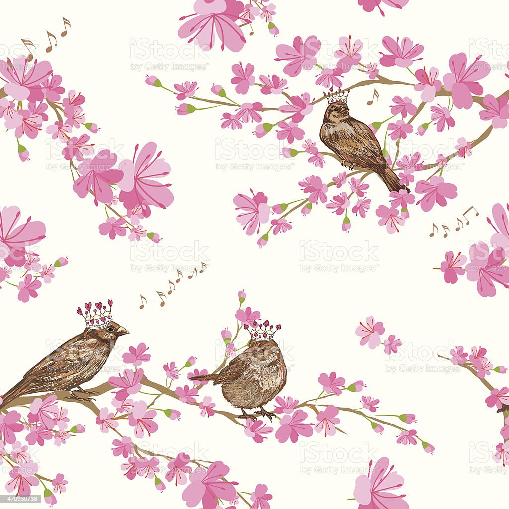 Spring Cherry Blossoms with sparrows Pattern vector art illustration
