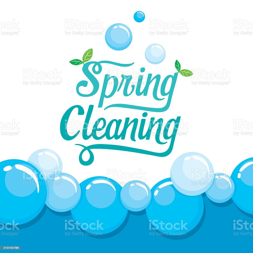 Spring Cleaning Letter Decorating And Foam Background vector art illustration
