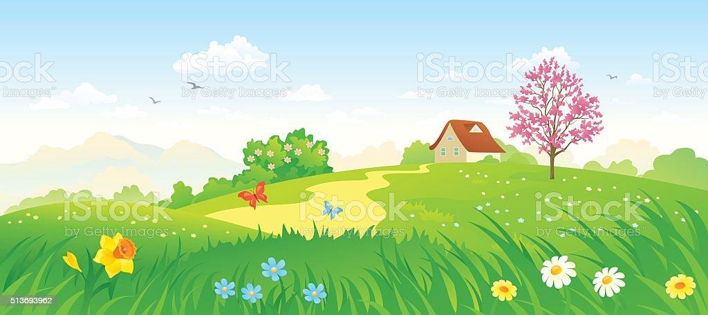 Spring countryside vector art illustration