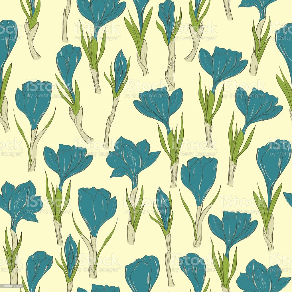 Spring crocus flowers seamless pattern vector art illustration