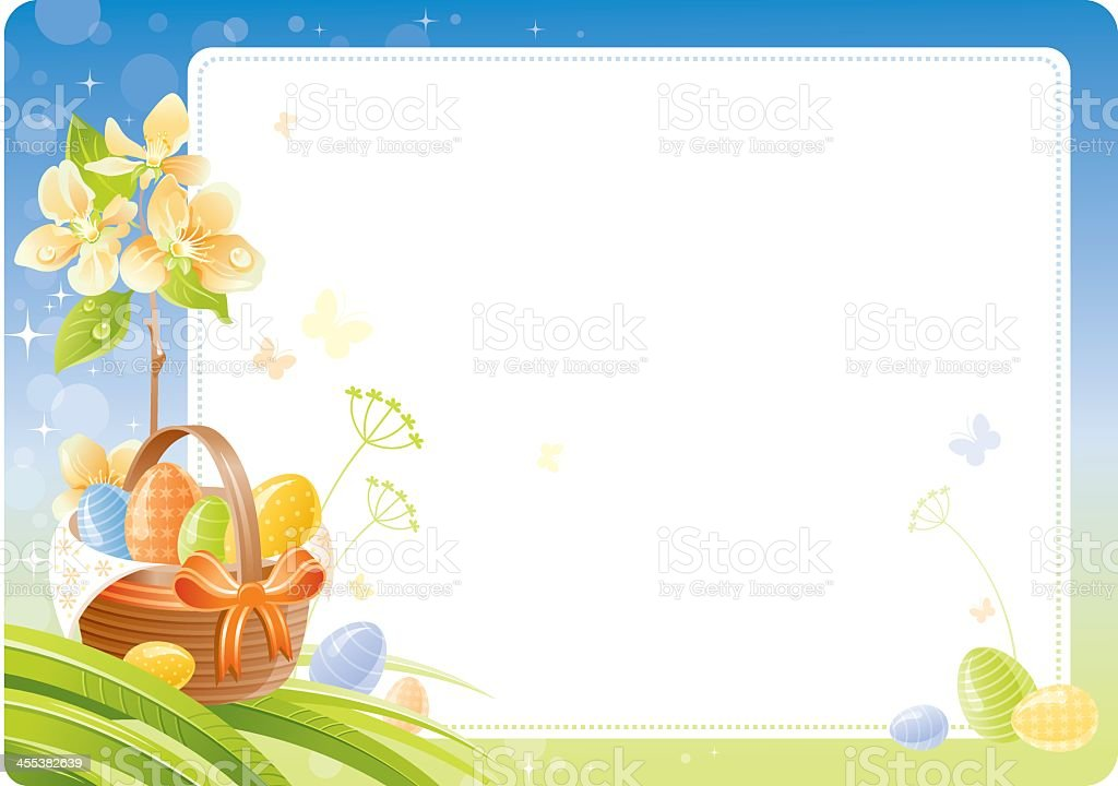Spring Easter background with flowering branch, basket and eggs royalty-free stock vector art
