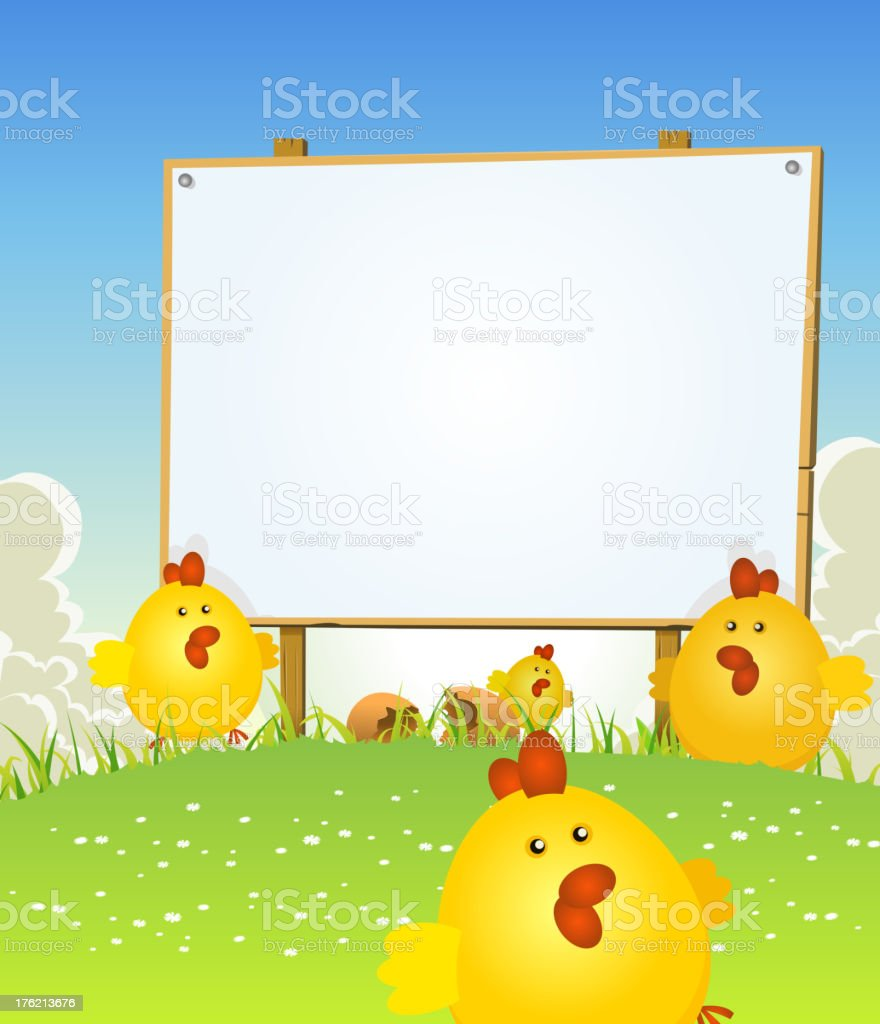 Spring Easter Chicken And Wood Sign royalty-free stock vector art