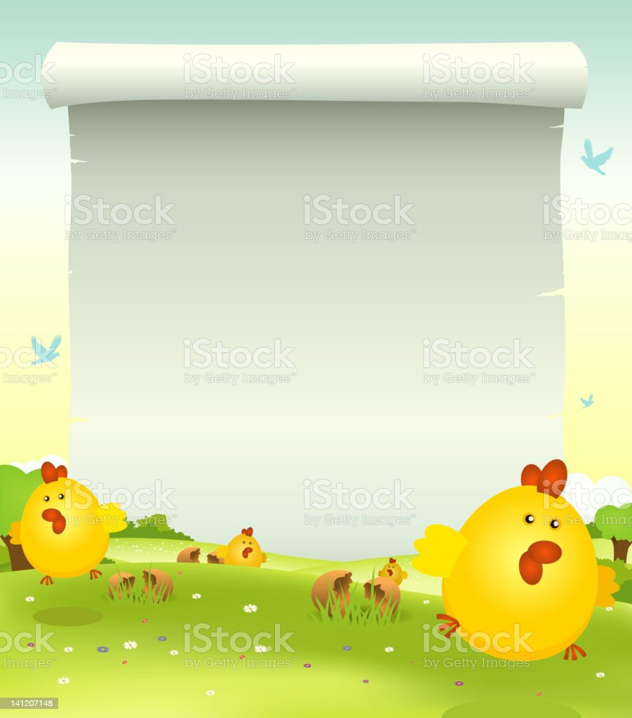 Spring Easter Chicken Background royalty-free stock vector art