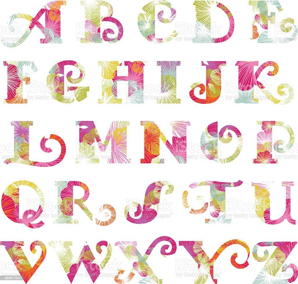 Spring floral alphabet vector art illustration