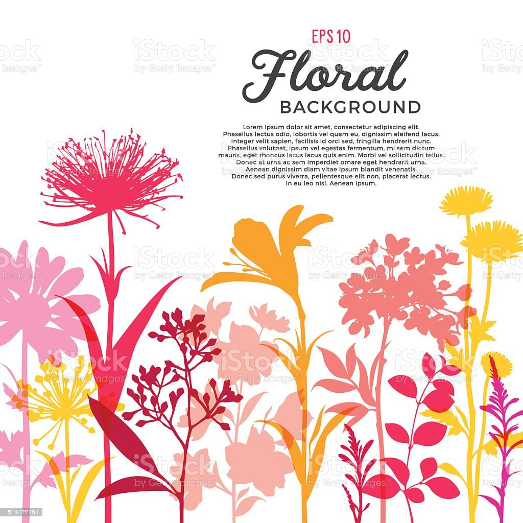 Spring Floral Background and Border with Wildflowers, Branches and Stems vector art illustration