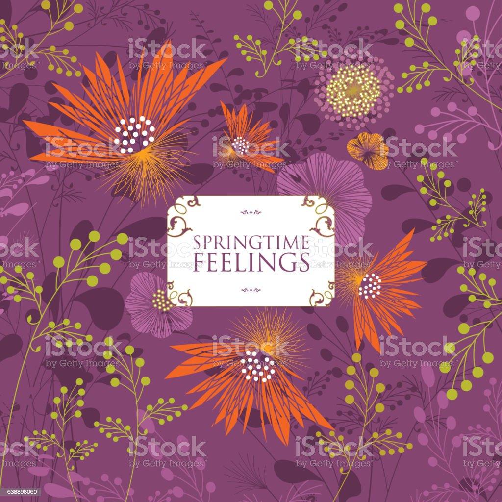 spring floral background banner text nature plant violet vector art illustration
