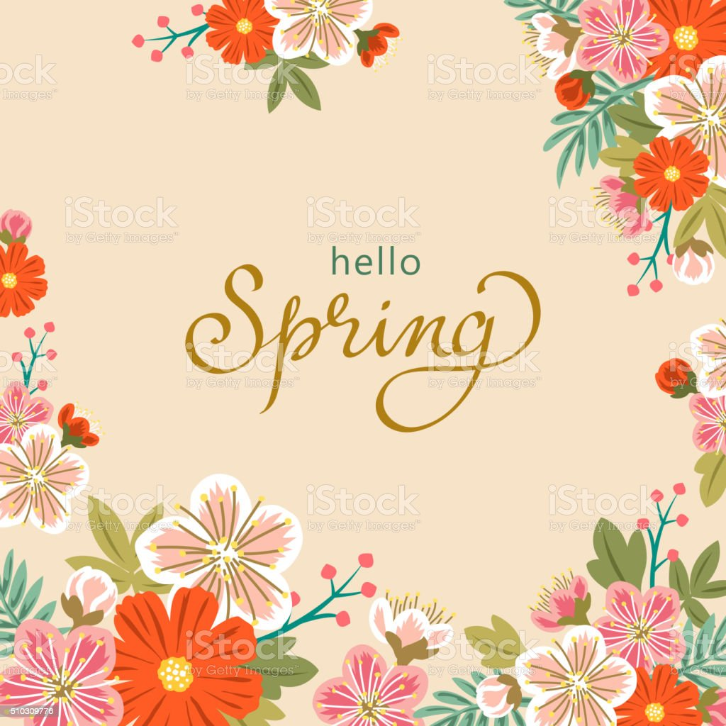 Spring floral background vector art illustration