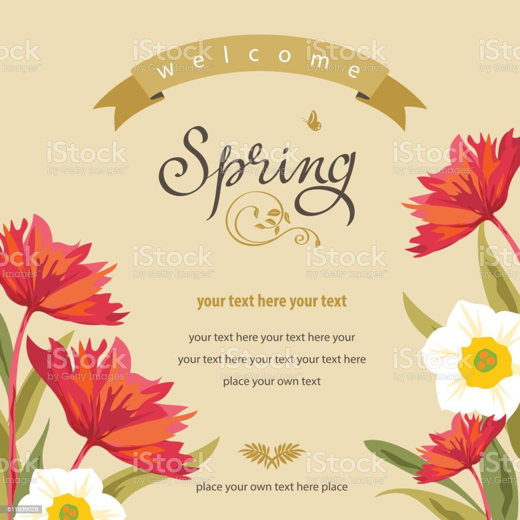 Spring Floral Background vector art illustration