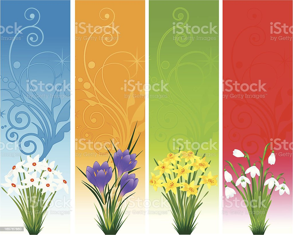 Spring Floral Banner vector art illustration