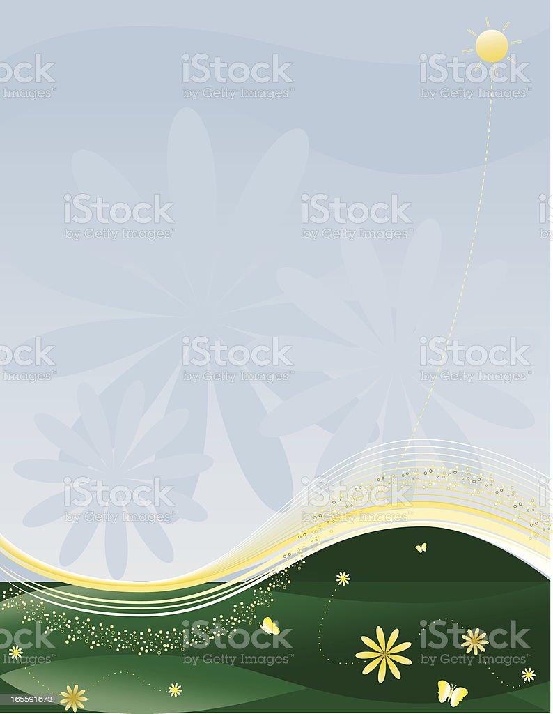 Frühling Landschaft Hintergrund-Design mit Blumenmuster Lizenzfreies vektor illustration