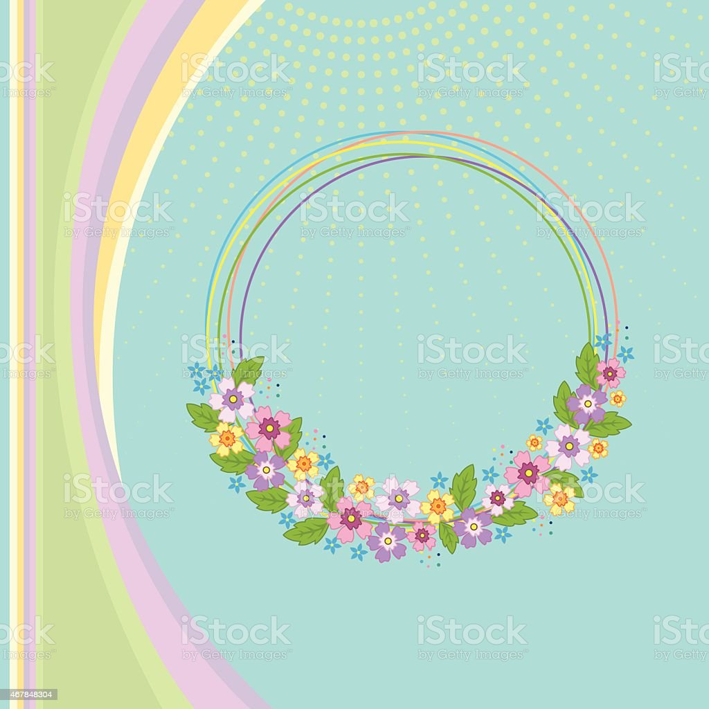 Spring floral wreath with pastel colors vector art illustration