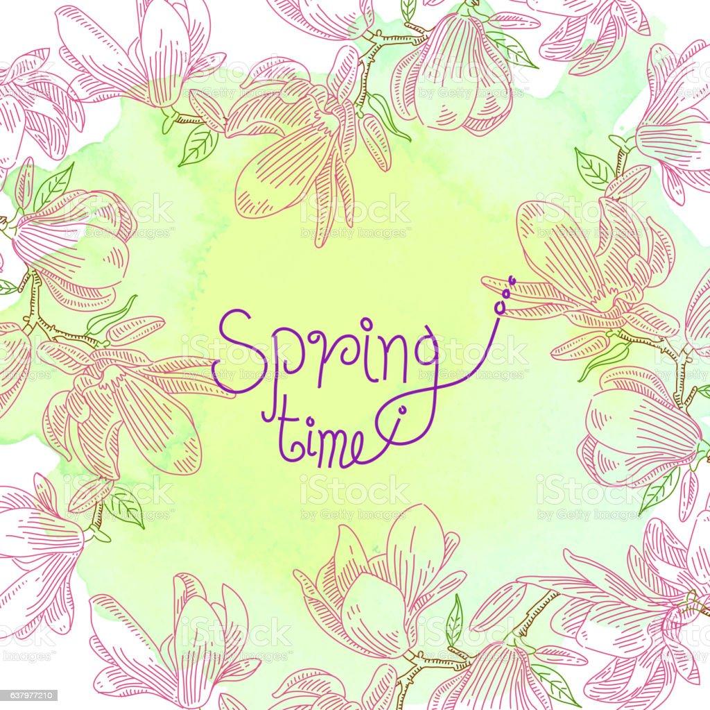 Spring Flower Drawing vector art illustration