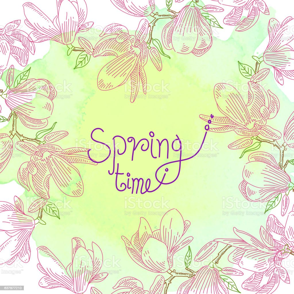 Spring Flower Drawing vector art illustration
