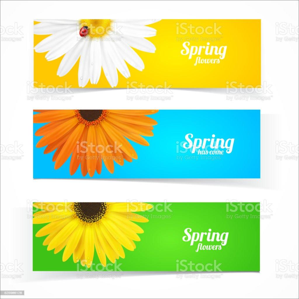 Spring flowers composition. vector art illustration