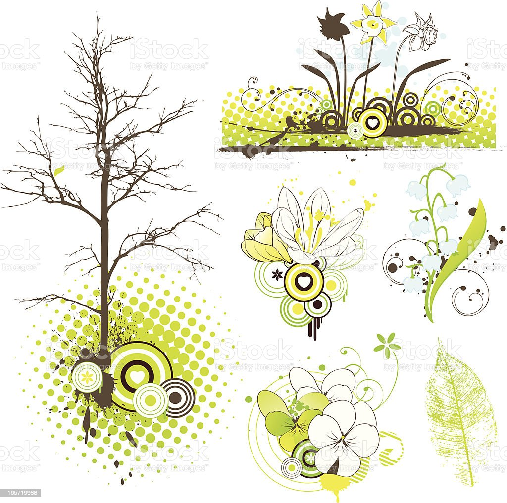 Spring Flowers Design Elements Set vector art illustration