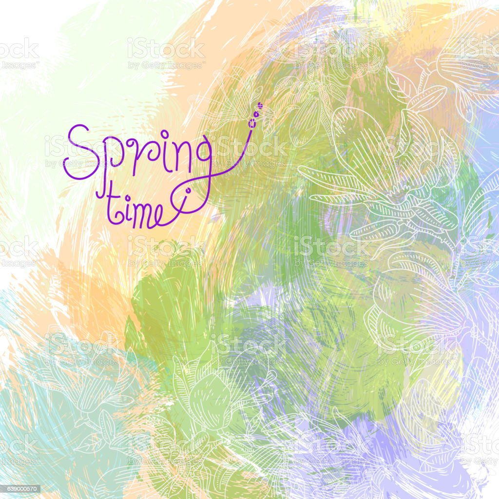 Spring Flowers Drawing vector art illustration