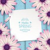 Spring flowers frame composition.