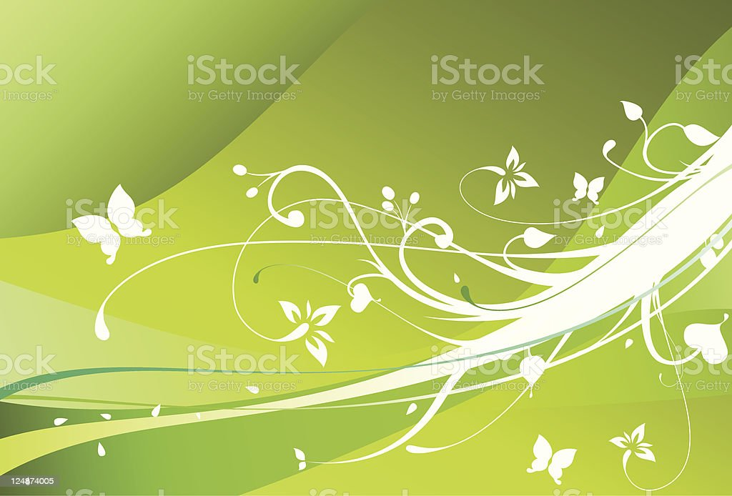 Spring Flowers Green Vector Floral Ornament Background royalty-free stock vector art