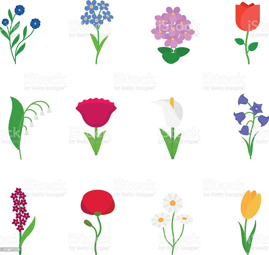 Spring flowers icons vector art illustration