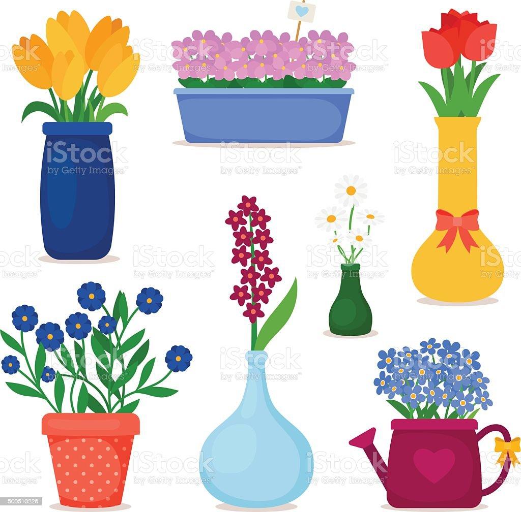 Spring flowers in pots and vase set vector art illustration
