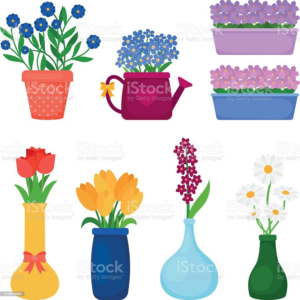 Spring flowers in pots vector art illustration