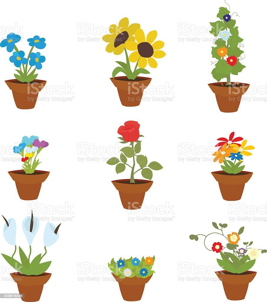 Spring Flowers In Pots vector art illustration