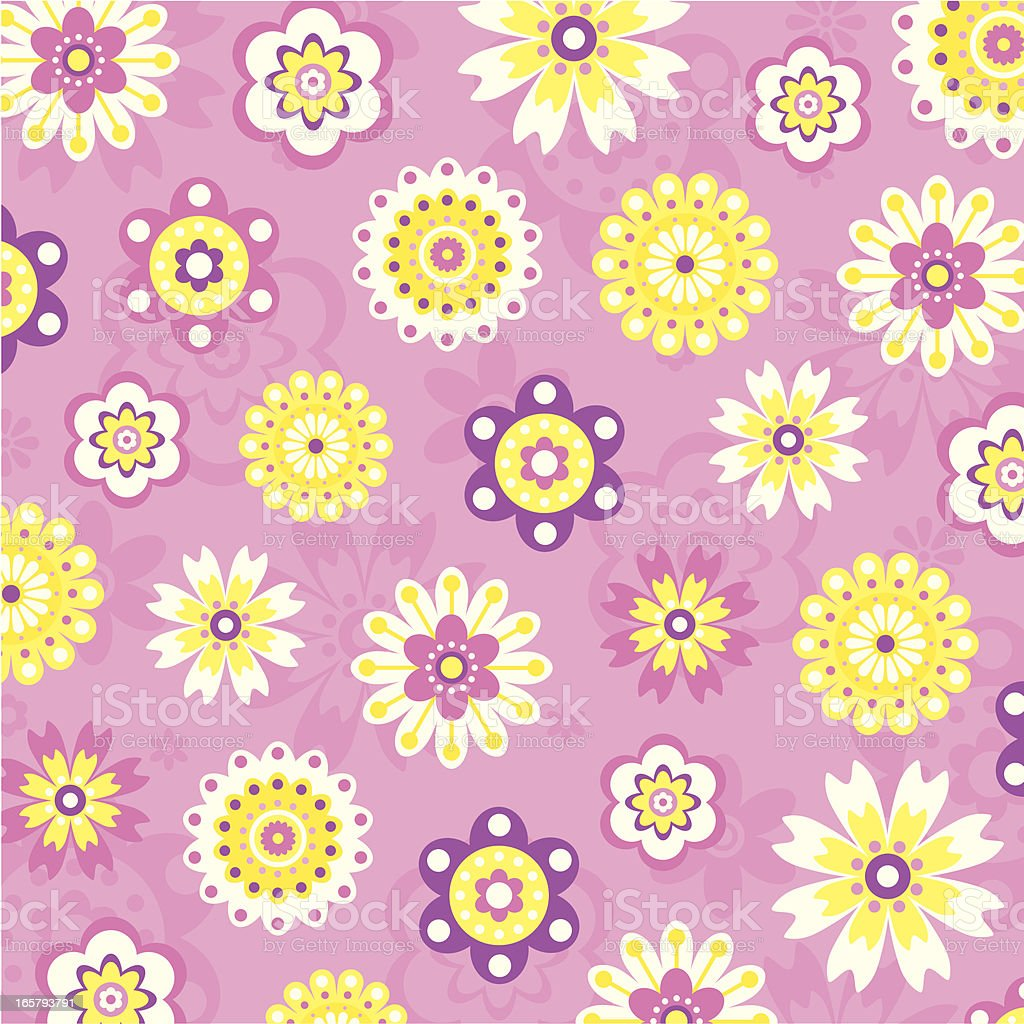 Spring Flowers Pattern on a Silhouette Background. royalty-free stock vector art