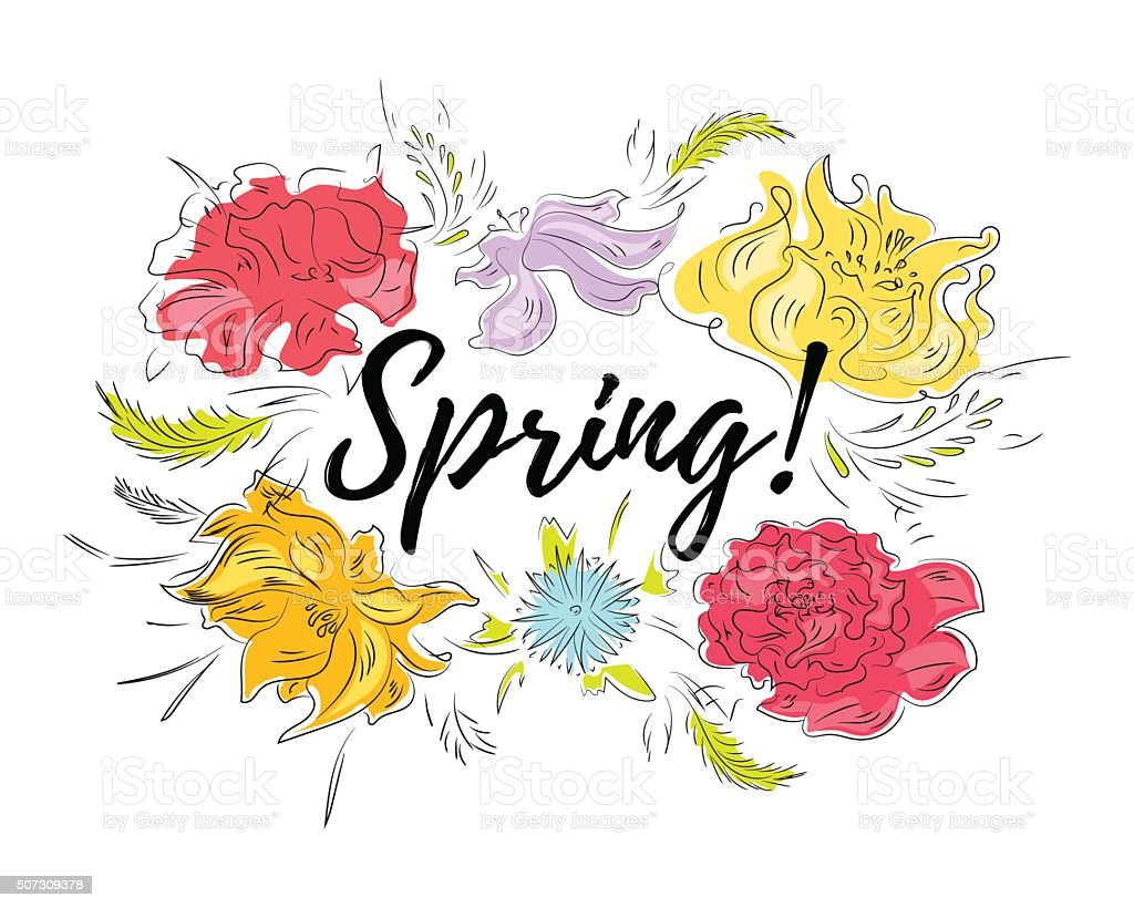 Spring Flowers Vector Card Stock Vector Art 507309378 Istock