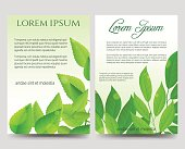 Spring flyers template with green leaves