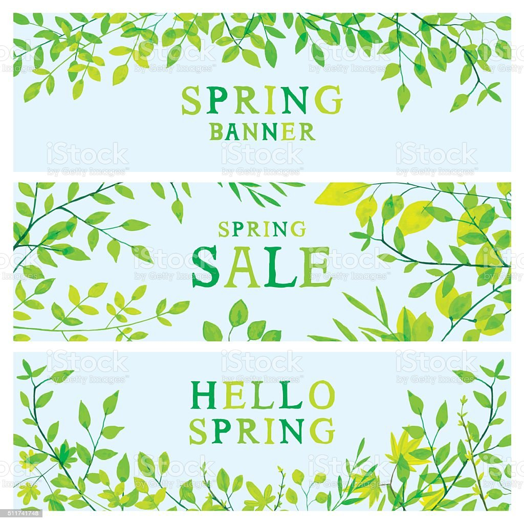 Spring foliage banners vector art illustration