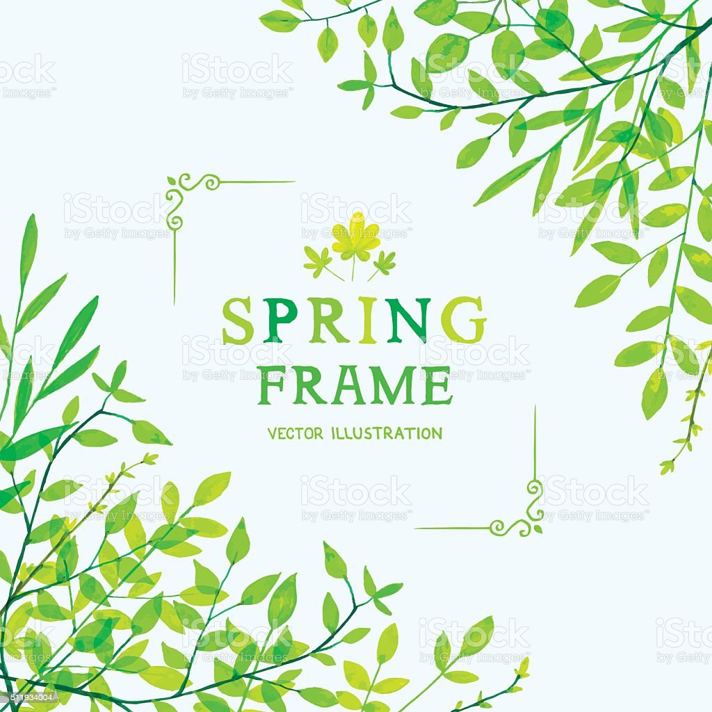 Spring foliage corners vector art illustration