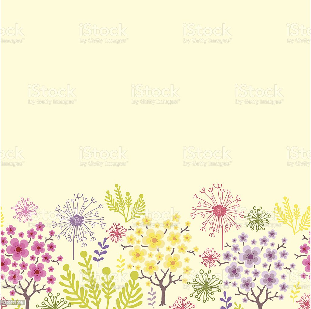 Spring Forest Floral Horizontal Seamless Pattern royalty-free stock vector art
