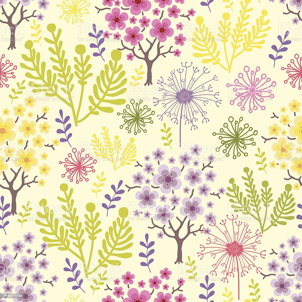 Spring Forest Floral Seamless Pattern royalty-free stock vector art