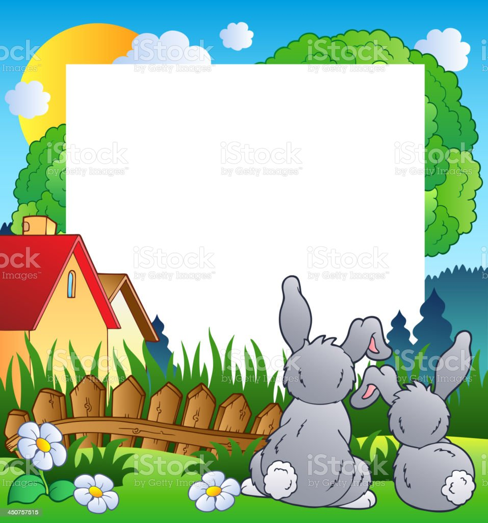 Spring frame with two rabbits royalty-free stock vector art