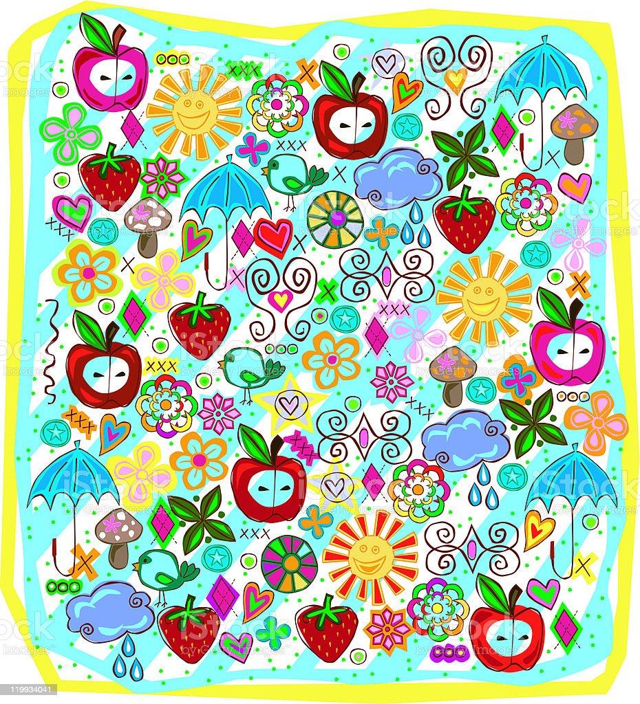 Spring Fun Doodles royalty-free stock vector art