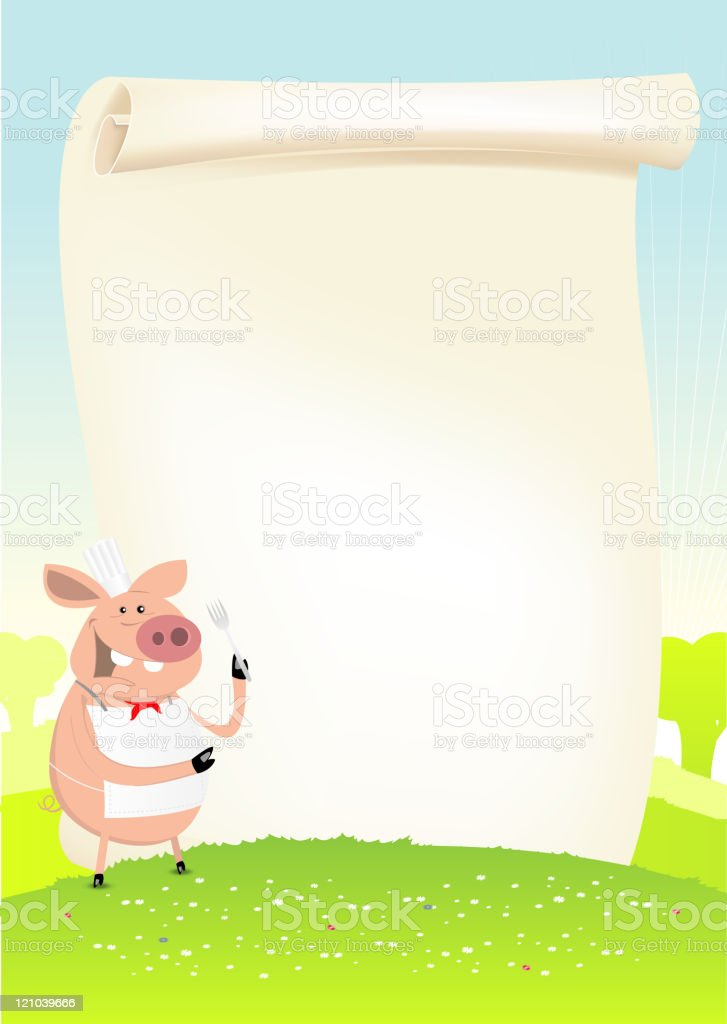 Spring Funny Pig Cook In A Field royalty-free stock vector art